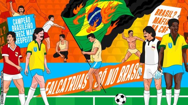 An illustration showing the dramatic scenes in Salvador when Brazil fans burn the national flag during the 1989 Copa America opening match at home against Venezuela