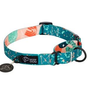 nowoczesna obroża dla psa dizajnerski nadruk oryginalny wzór warsaw dog-confetti