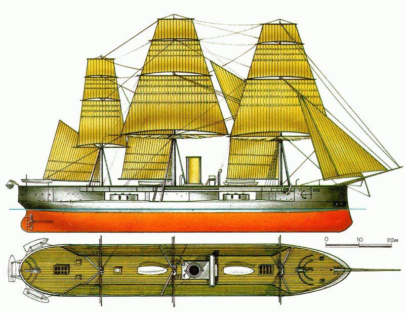 А вот так он выглядел под парусами - Казусы эпохи пара и электричества: экстремальное кораблестроение | Военно-исторический портал Warspot.ru