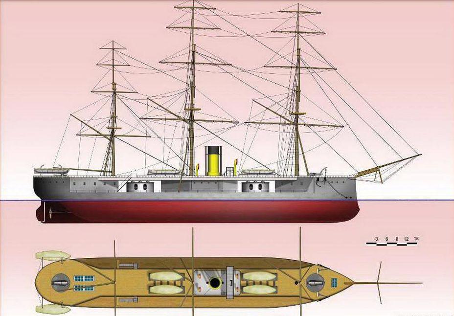 Проекции HMS Captain - Казусы эпохи пара и электричества: экстремальное кораблестроение | Военно-исторический портал Warspot.ru