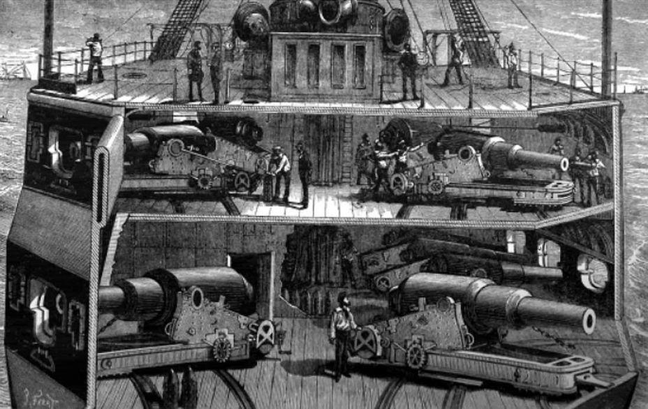 Пример расположения дульнозарядных бомбических орудий на палубах броненосца. Навевает мысли о романах Жюля Верна - Казусы эпохи пара и электричества: экстремальное кораблестроение   Военно-исторический портал Warspot.ru