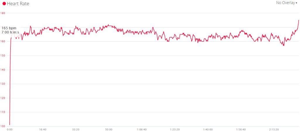 Wykres pulsu z Warszawy. Widać, że wydolnościowo miałem rezerwę, ale zabrakło sił w nogach, żeby pracować mocno. Szczególnie pod wiatr.