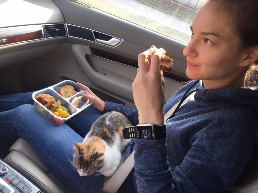 Powrót do domu. Kotek trochę utrudnia jedzenie LightBoxa :)