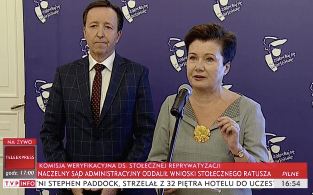 Naczelny Sąd Administracyjny oddalił wnioski Hanny Gronkiewicz-Waltz