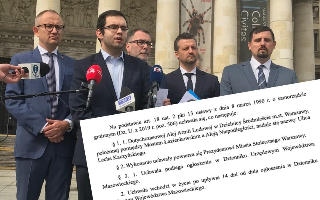 Radni PiS: ulica Lecha Kaczyńskiego zamiast alei Armii Ludowej
