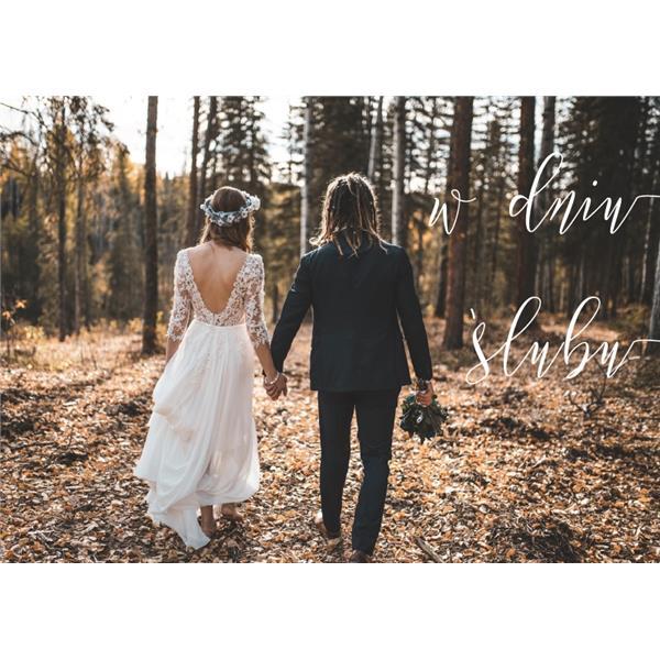 Kartka - W dniu ślubu - las