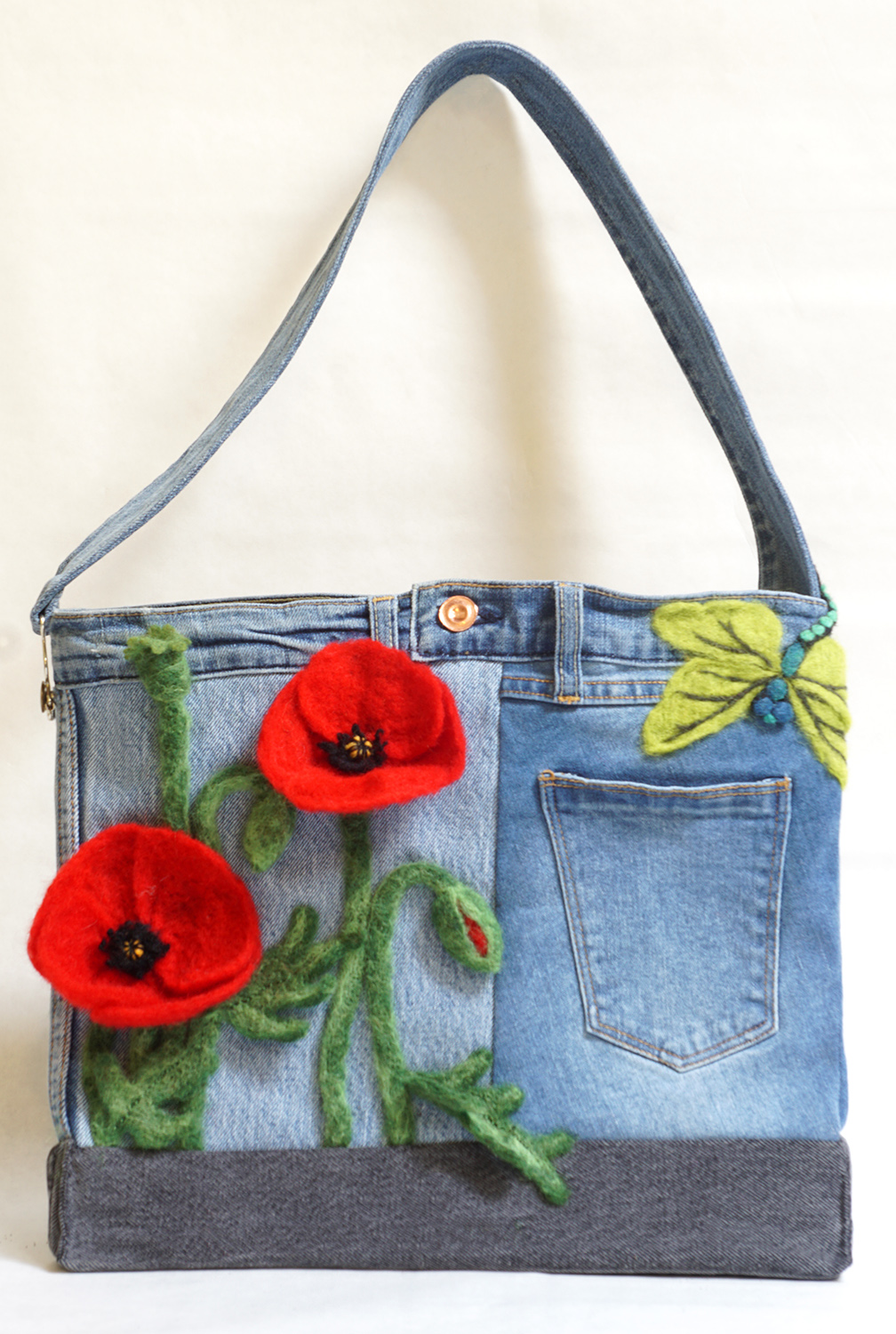 Poppy Field Bag original up-cycled jean and needle sculpted hand bag