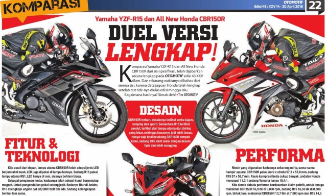 yzf-r15 vs all new cbr150r