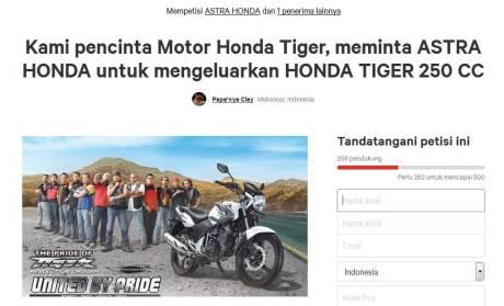 Petisi Online meminta Honda Tiger 250cc