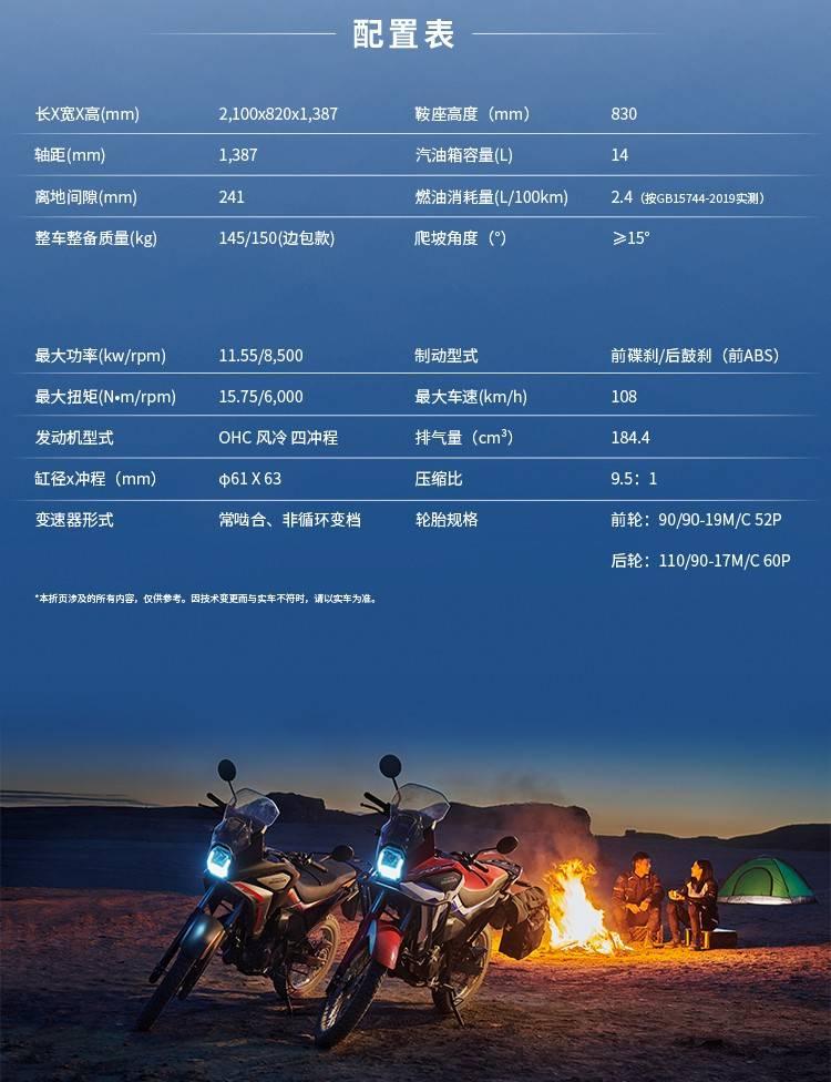 Honda CRF190L 2022 SPEK