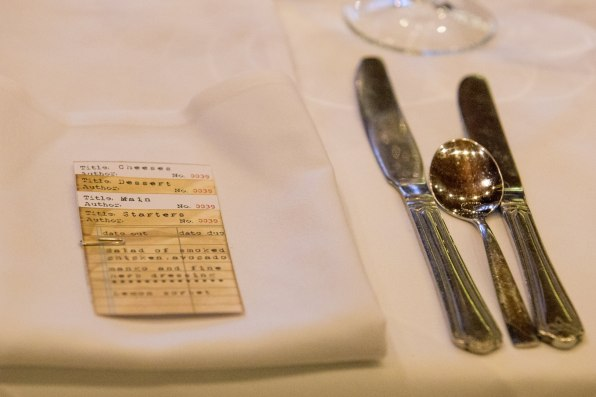 Library themed dinner menu card
