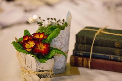 Library themed dinner plants no waste table decor
