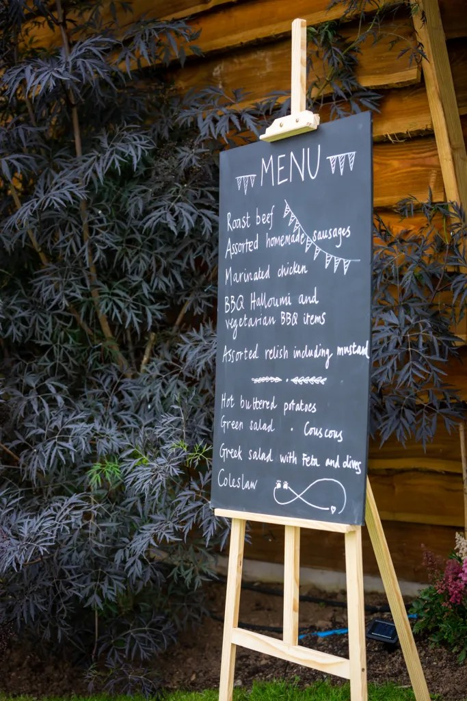 Hand drawn menu blackboards for rustic-chic party