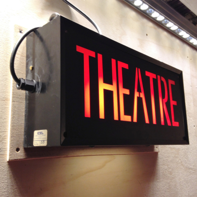 Lit theatre sign