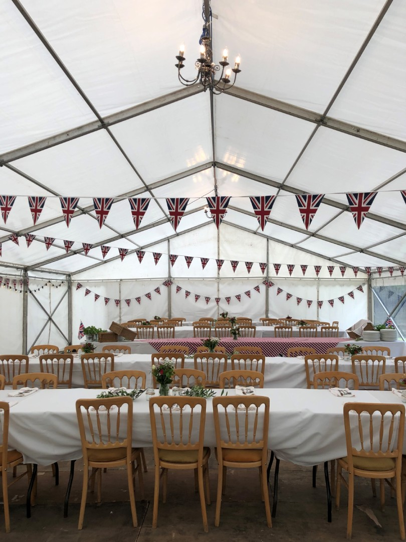 Best of British marquee with union jack bunting