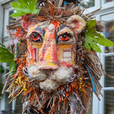 lion, community made sustainable event décor