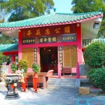 red temple with green roof