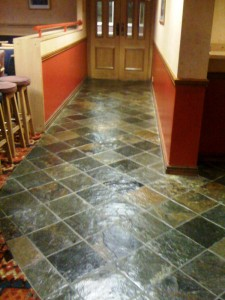 Slate floor in a Working mans club renovated by Tile Doctor Warwickshire