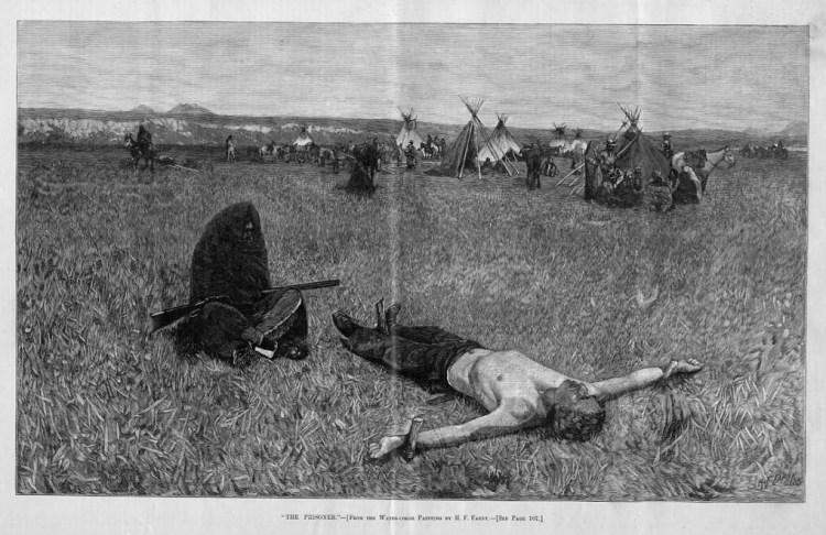Illyustratsiya «Plennyiy» iz amerikanskogo politicheskogo zhurnala Harper's Weekly, 1886 g.