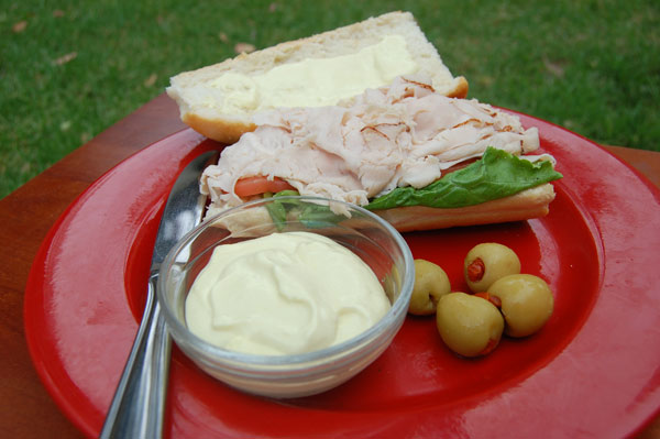 Wasabi Aioli with a quick lunch for the hard workers in your family. Yum.