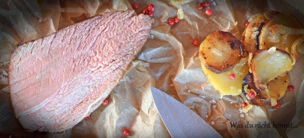 Rindfleisch Sous-Vide gegart mit Ofengemüse