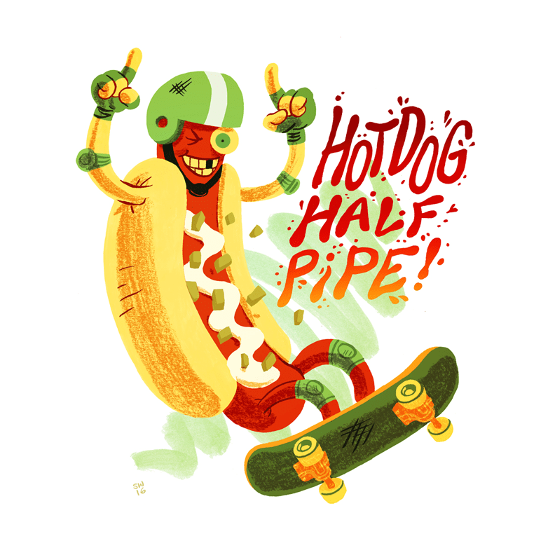 Hot dog skateboarding on a half pipe illustration