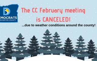 information poster regarding the central committee meeting cancellation due to poor weather