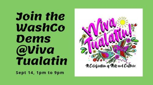 viva tualatin 2019 logo with call to join the washco dems