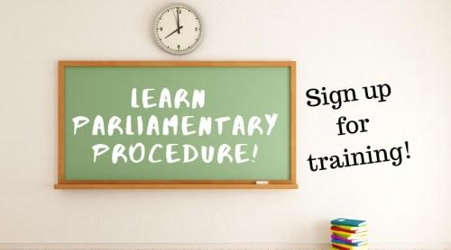 blackboard that says learn parliamentary procedure
