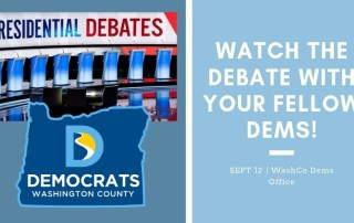 photo of democrat debate stage and WCD logo