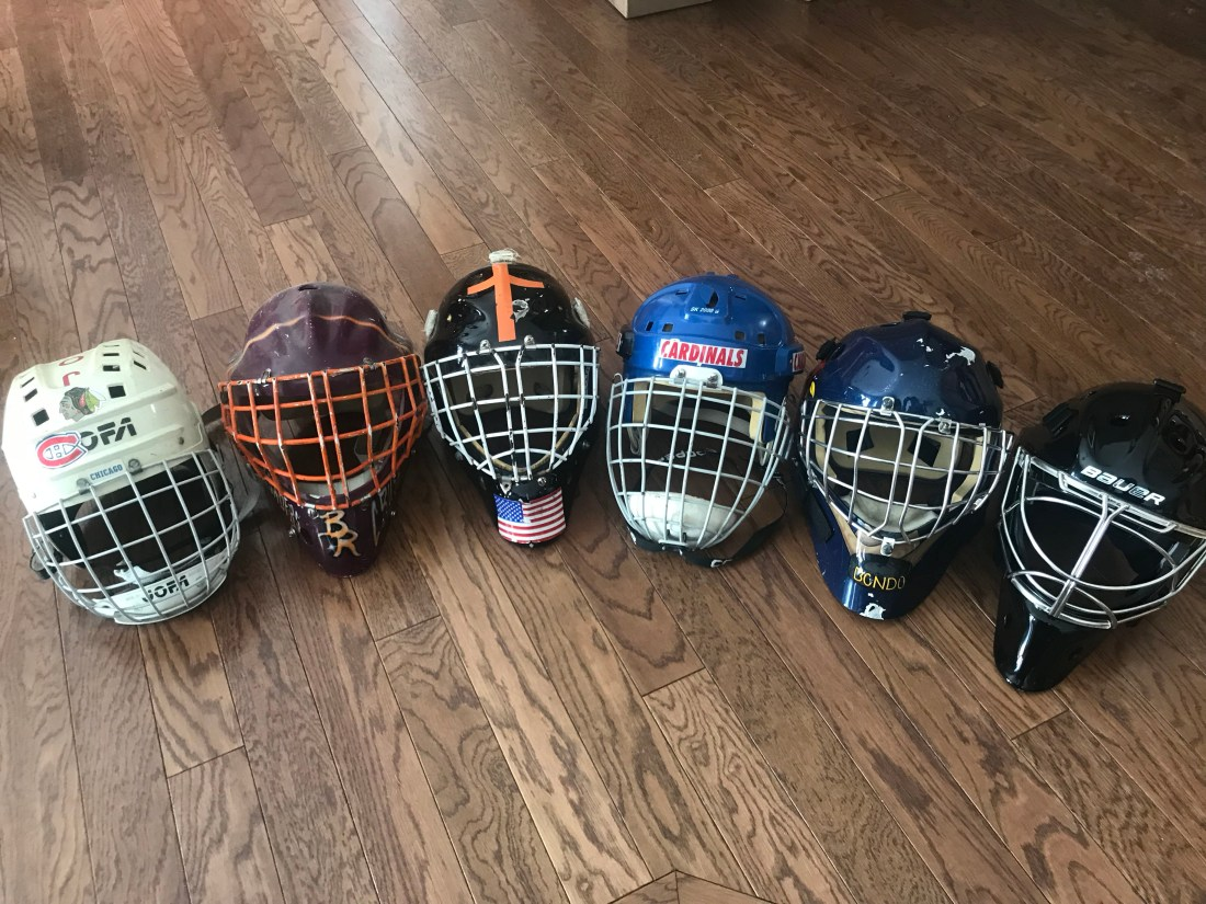 A collection of Washed Up Goalie's masks through his career