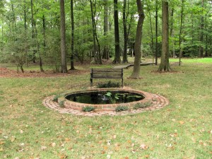Wooded acreage and large back lawn can be seen with brick lined pond