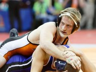 Fort Calhoun senior Jacob Tegels works for his first round win at state wrestling championships.
