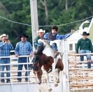 Bareback rider Chase Corgin Saturday night rodeo,