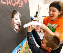 "Drayk Bowen ""pies"" his teacher Hollie Booth."