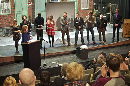 Amy Lillard acknowledges Lab Finalists (L to R) Megan Lingafelter Ball, Tony Fulgham, Shaun Scott, Destiny Gowdy, Ian Bell,  Matthew Williams, Nathan Williams, Gevin Booth, and Ken White.