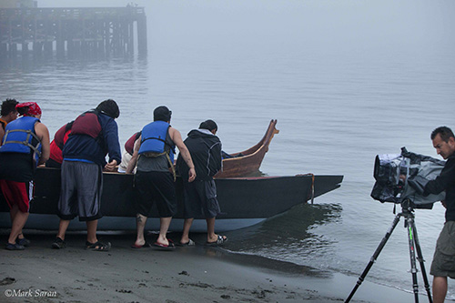 The No Ked Jak canoe on the shores of Queets. Photo courtesy of Melissa Woodrow.