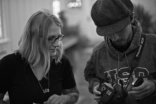 Eslyn and Zack Cohen on set. Photo: Sean O'Malley.