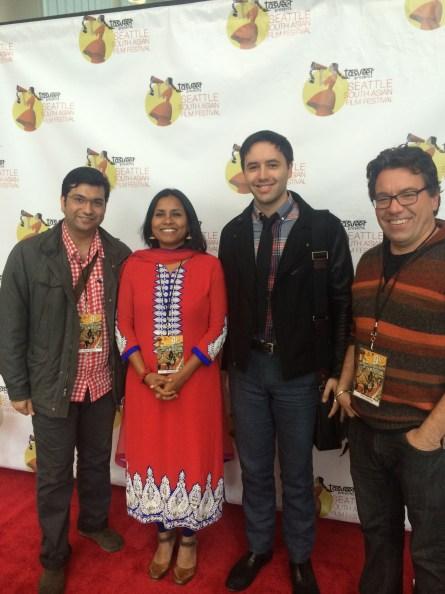 Marketing Director Gangwani with Festival Director Rita Meher, Washington Filmworks Communications Coordinator Andrew Espe, and Moderator Etheredge