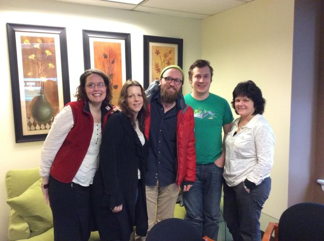 Filmmaker/Animator Drew Christie with Director of Finance & Operations Julie Daman, Production Services Coordinator Krys Karns, Accounting Assistant Ken Hagan, and Administrative Assistant Cris Walters.