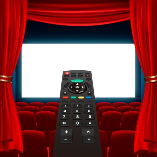 tv remote and cinema screen