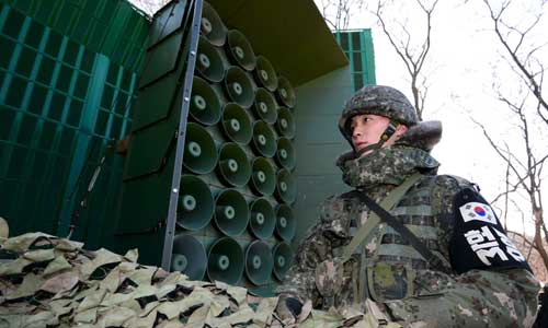 South Korea's loudspeakers blast North