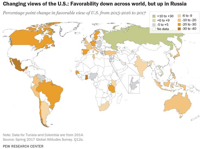 US will pay for Trump's global unpopularity map
