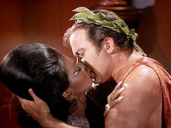 One of television's first interracial embraces