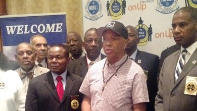 Russell Simmons speaks at a convention of the National Organization of Black Law Enforcement Executives in Washington, D.C. (NOBLE)