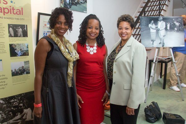 The Washington Informer Publisher, Denise Rolark Barnes (center) with board member (left) and longtime supporter and friend during the newspaper's Fifty-50 Lens Exhibit at Gallery O/H in Northeast on Sept. 18. /Photo by Shevry Lassiter