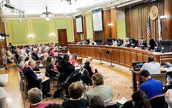 """A D.C. Council committee hears testimony on the """"Death With Dignity Act"""" during a hearing at the Wilson Building in Northwest on July 10, 2015. The Council members will act on the bill on Oct. 18. (Courtesy of the Catholic Standard)"""