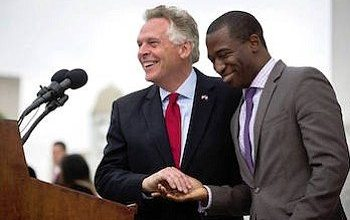 Richmond, Virginia mayoral candidate Levar Stoney (right) was endorsed by Gov. Terry McAuliffe, his former boss. (stoneyforrva.com)