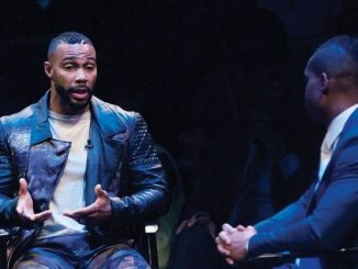 Poet, actor, artist and activist Omari Hardwick has a conversation with John Burns, co-founder of Icon Talks, during the Icon Talks Empowerment Tour honoring Media Mogul Cathy Hughes, founder and Chairperson of Radio One, Inc. and Civil Rights Activist Reverend Jesse L. Jackson, Sr., founder and president of the Rainbow PUSH Coalition on Thursday, June 30 at the Arena Stage Mead Center for American Theater in Southwest. /Photo by Patricia Little