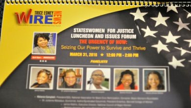 A commemorative calendar available to attendees at the Sixth Annual Stateswomen for Justice Luncheon, Thursday, March 31, 2016 in Northwest. /Photo by Patricia Little @5feet2